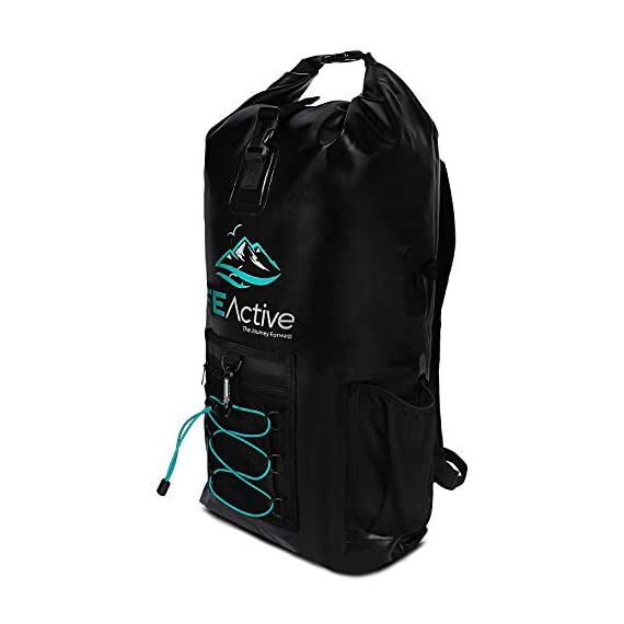 FE Active Dry Bag Waterproof Backpack - 20L Eco Friendly Hiking Backpack. Ideal for Camping Accessories & Fishing Gear… 2 DESIGN: The Huntington is made of environmentally safe PVC tested and certified. Bungee cords to hold tackle box, fly fishing gear, yoga mat, camping supplies and outdoors survival kits. Complimentary carabiner attached to increase utility. Roll top waterproof design makes for great extra large safe storage for gadgets like cell phone, camera equipment, clothes, and money. Chest strap keeps pack securely on while on a motorcycle, bike, sea doo, jet ski, snorkeling, or skateboarding CONSTRUCTION: Dry bag made of thick marine grade 5mm eco friendly Vinyl Tarpaulin with high frequency welded stitching made to withstand extreme outdoor activities. A must have for your emergency kit. Perfect dive bag where conditions are very wet. This 20L dry bag backpack includes padded shoulder straps with mesh lining for better air flow and built-in padded back support for more comfort. Includes exterior zipper mesh pocket to safely hold keys, sun glasses, and other items DIMENSIONS: Enjoy carrying everything you need with this professional waterproof backpack, which has a 20L capacity and measures 25.5 in long and 11.8 in wide. This heavy duty yet light backpack weighs 2 pounds ideal dry bag for your emergency kit. Rain and snow are no match for this dry bag. Used and trusted by our own USA military for its floating capabilities and ability to keep tactical gear dry. Also doubles as a great beach bag to keep your phone, lunch, towel, and accessories dry