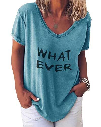 Minetom Damen Sommer Kurzarm Blusen T-Shirt V-Ausschnitte Loose Oversize Shirt Einfarbig Casual Brief Bedruckt Asymmetrisch Oberteile Top C Blau DE 46