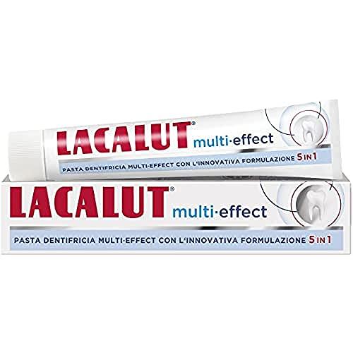 Dentifricio per igiene dentale. Igiene orale e pulizia denti. Per denti sensibili. Dentifricio che combatte la placca. Sbiancante. Antitartaro. Alito fresco. LACALUT 5in1. 75ml