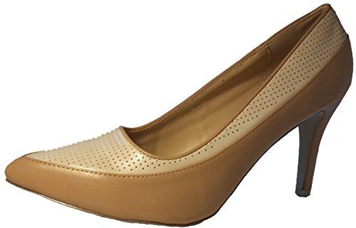 Zweifarbige Stiletto Pumps High Heels. Sehr elegant, Damenschuhe, Schuh für Damen. Topaktueller Trendschuh. Aktueller Modetrend. Beige. PHH131. Größe 38.