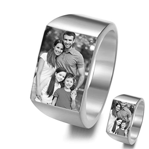 DIY Photo Ring Personalized Picture Ring Titanium Steel Ring Simple Ring Men'S Ring Creative Jewelry for Boyfriend(Silver N 1/2)