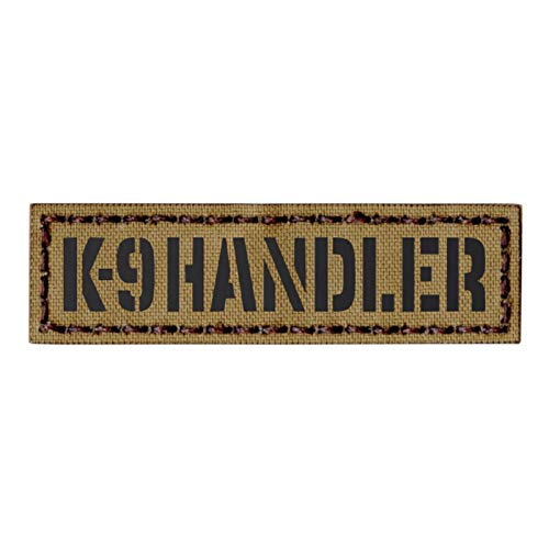 Tan K-9 Handler 1x3.5 Name Tape Tab Coyote K9 Dog War Tactical Morale Hook-and-Loop Patch