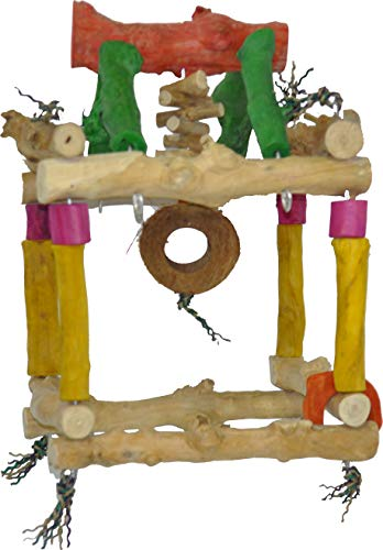 A&E Cage Company Small Hanging Double Tower ? 7.9? x14.5? Java Wood