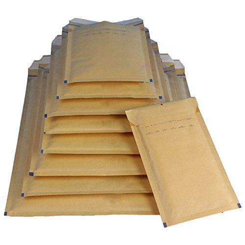 Mix 110 Luftpolsterversandtaschen Luftpolstertaschen braun je 10 Luftpolsterumschläge der Größen A1 / B2 / C3 / D4 / E5 / F6 / G7 / H8 / I9 / K10 / CD - 11 verschiedene Größen in braun