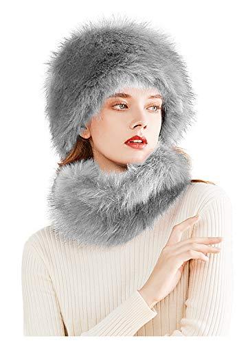 Lovful Winter Faux Fur Women Russian Cossak Hat Scarf Set,Grey