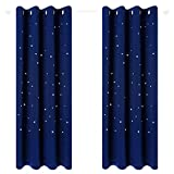 Anjee Starry Sky Blackout Curtains for Kid's Room Space Themed Drapes for Nursery Royal Blue W52 x L95 Inches