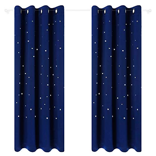 Anjee Kids Room Curtains with Die-Out Twinkle Stars, 2-Panel 2-Tiebacks Star Wars Themed Blackout Curtains Window Draperies for Nursery, 52 Inches Wide x 95 Inches Long, Royal Blue