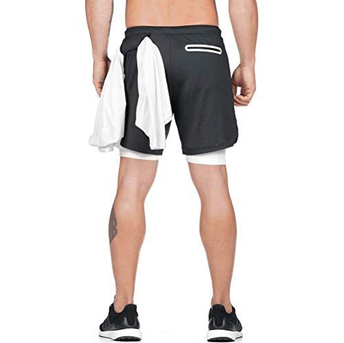 DURINM Shorts Herren Sport Sommer Laufhose 2 in 1 Kurze Hosen Schnelltrocknende Laufshorts Fitness Joggen und Training Sporthose mit Tasch Herren Laufshorts Dual Kurze Sporthose