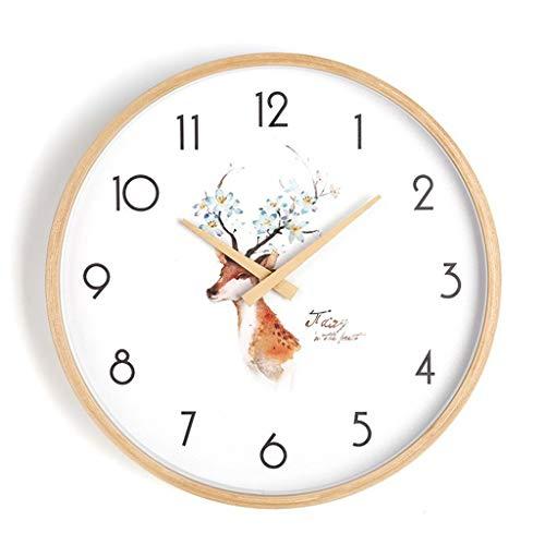 ZQQBRZXFT Cuarzo de Pared Silencioso Lindo Reloj De Pared De Conejo,De Madera,Silenciosa...