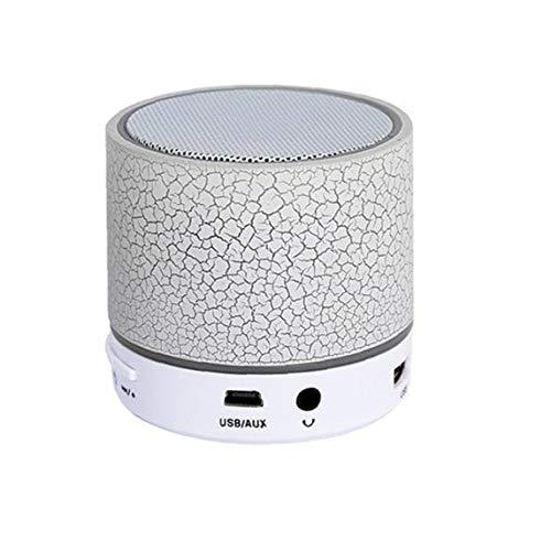 IUwnHceE Tamaño portátil Mini Bluetooth Altavoz de Bolsillo LED Metal Wireless Speaker, Altavoz bajo, Construido en el micrófono (Blanco) Multifuncional Accesorios electrónicos