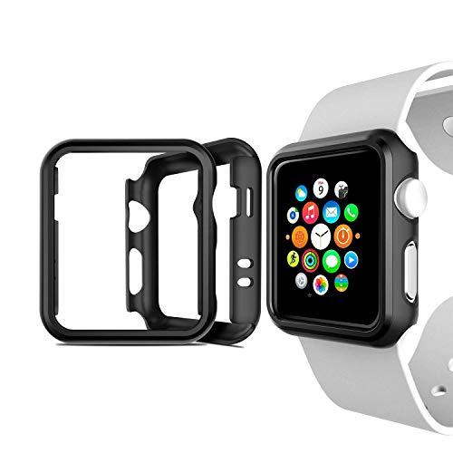 Cozycase Cover Apple Watch Series 2&3, 38mm Custodia Antiurto Protettiva Compatibile con Apple Watch Series Nero, 2-Pack