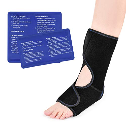 Foot & Ankle Ice Pack Wrap, Reusable Cold Compress with 2 Gel Packs, Adjustable Hot & Cold Therapy for Sprained Ankle Heel Pain Relief Achilles Tendon Injury Plantar Fasciitis Bursitis Swelling