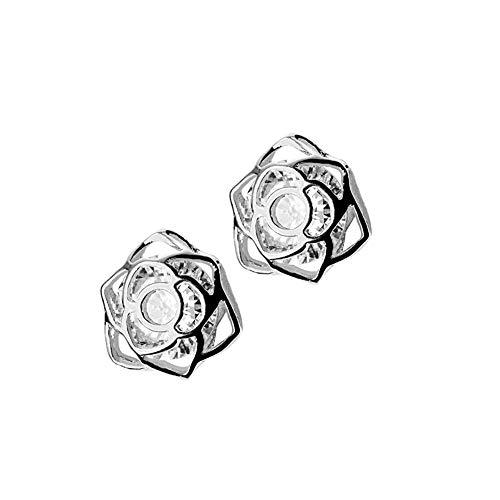 Orecchini a lobo a forma di fiore di rosa, in argento Sterling, per donne e ragazze e ragazze con zirconia cubica, senza nichel e Argento, colore: Argento, cod. E590