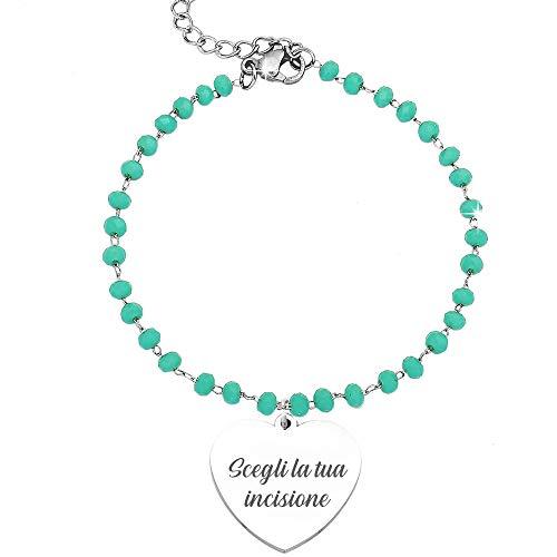 Beloved Bracciale da donna, braccialetto in acciaio e cristalli briolè verdi – con incisione personalizzata - frasi, pensieri, parole con charms - ciondolo pendente - misura regolabile