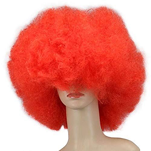 Peluca De Payaso Arcoiris, Peluca Corta Y Rizada Afro Peluca Para Fiesta De Halloween, Navidad, Peluca De Payaso De Cosplay Colorido Rojo
