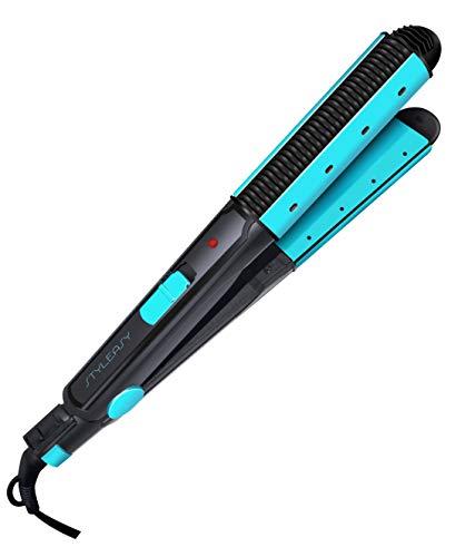 Sytech SY-PP22 Plancha de Pelo Cerámica Profesional, Alisador y Rizador de Color Azul