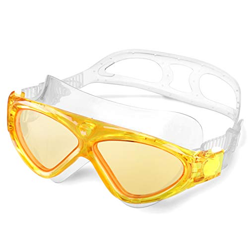 Schwimmbrille Erwachsene Anti Fog Ohne Leakage deutlich Anblick UV Schutz 180°Weitsicht Einfach zu anpassen,Professional Super komfortabeler Schwimmbrille für Herren und Damen(Yellow/Tinted Lens)