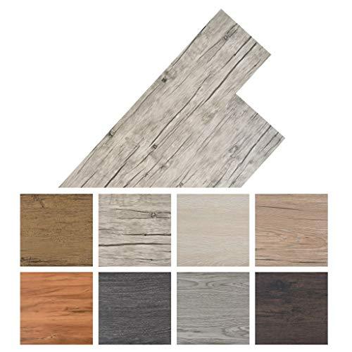 Tidyard Vinyl-PVC Laminat Dielen, Bodenbelag, 5,26 m2, Rutschfest, Wasserfest, Schwer Entflammbar, Schimmelbest?ndig, für Küche, Bad, Flur oder Wohnzimmer, 6 Dekors w?hlbar - Eiche Gewaschen