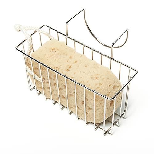 """Kitchen Sponge Holder Sink Basket Sink Caddy Brush Dishwashing Liquid Drainer Rack Silver Small (7""""x 2.7""""x 3.5"""")"""