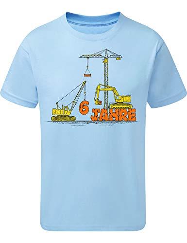 Geburtstags Shirt: Bagger & Kran 6 Jahre - Jahrgang 2015 - Baustelle Junge T-Shirt für Jungen Geschenk-Idee zm Geburtstag Kind Kinder - BAU - Traktor - Lastwagen - LKW - Sandkasten - Blau (134/146)