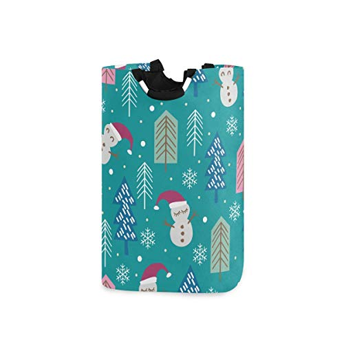 BEITUOLA Laundry Basket,Cute Snowman Tree Holiday,Portable Washing Basket,Laundry Hamper with Handle,Storage Bag,Laundry Bin for Bedrooms Laundry Room,Bathroom,Large Capacity,Collapsible