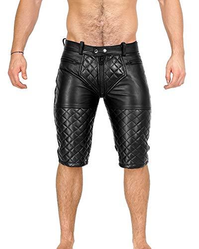 Bockle® 5 Gay-Zip Shorts Leder Shorts Pants Kurze Lederhose Lederhose Herren Lederhose mit durchgehendem Reißverschluss Zip, Size: 36