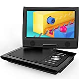 "ieGeek 11"" Portable DVD Player with Dual Earphone Jack, 360° Swivel Screen, 5 Hrs Rechargeable Battery, Supports SD Card/USB/CD/DVD and Region Free, Remote Controller, Black"