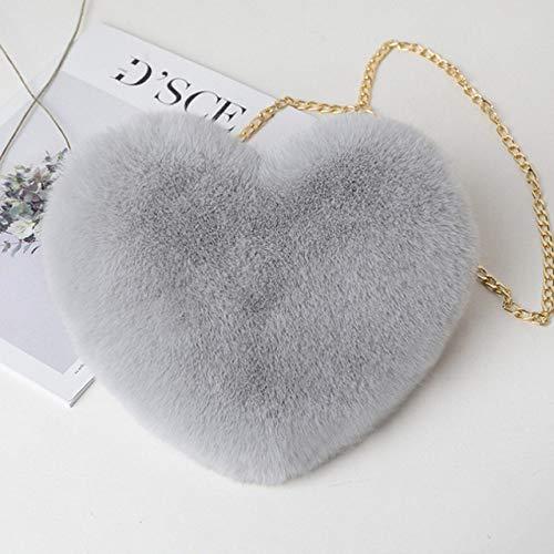 Momyeah Sac de Rangement Sac Cadeau de Saint Valentin en Forme de Coeur Femmes Coeur Messager Sac Dames Sac de Rangement, Gris Clair