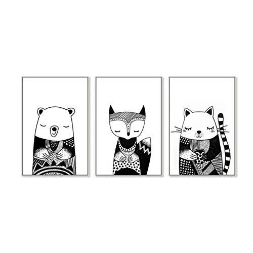 JHCT Leinwanddrucke Schwarz-Weiß-Waldtiere Bär Fuchs Kinderzimmer Leinwandbilder Geburtstagsgeschenk Wandkunst Bilder für Kinderzimmer Wohnkultur-40X60Cmx3 Pcs Rahmenlos