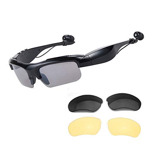 WOTUMEO Multifunción Digital Sport Bluetooth Gafas De Sol Gafas Auriculares Inalámbricos Música Estéreo Manos Libres Auriculares Conducir Gafas Con Bluetooth Self-Timer + Polarizadas Lentes