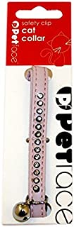 Petface Sparkly Cat Collar with Safety Clip and Bell, Baby Pink