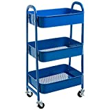 AGTEK Makeup Cart, Movable Rolling Organizer Cart, 3 Tier Metal Utility Cart, Yellow