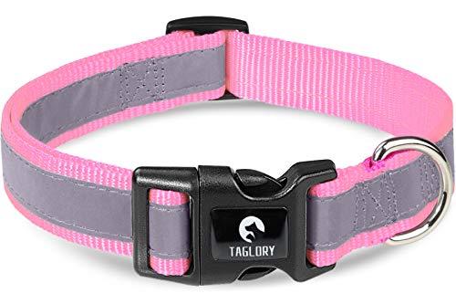 Taglory Collar Perro Reflectante, para Perros Extra Pequeño, Collar Ajustable y Suave para Caminar Correr, Rosa bebé
