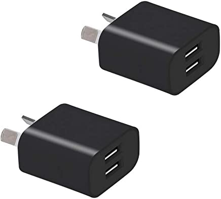 Australia USB Wall Charger Plug, Wong 5V/2.1A Dual USB Plug Charger Power Adapter for iPhone, Samsung Galaxy, Huawei, HTC, LG, Table, Motorola, Nokia and More [2Pcs Black]