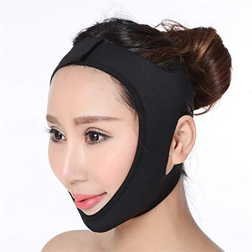 3°Amy Bandage Lifting Noir Double Menton Visage Bandage Slim Lift Up Anti Rides Masque Bracelet Bande V Visage Ligne Ceinture Femmes Minceur Mince Visage Outil de beauté (Color : XL)