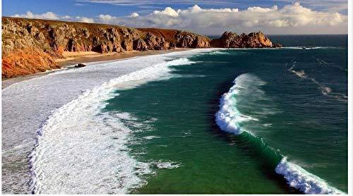 Seaside Rock Spray Paisaje Mapa Diy 5D Kits De Pintura De Diamante,...