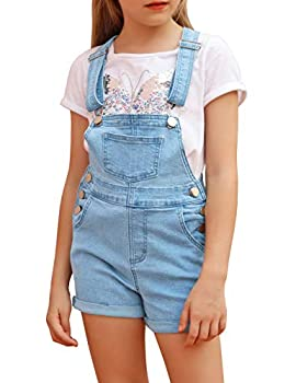 luvamia Girls  Casual Bib Denim Jeans Shortall Summer Stretchy Overalls Jumpsuit Shorts 4-13 Years Light Blue Size Large  8-9 Years