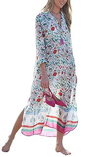Ho Mall Vestito Lungo Donna Estate Copricostume Mare Spiaggia Taglie Forti Stampato Floreale Scollato V Maniche Pispistrello Caftano Tunica Beachwear (Modello 12, Taglia Unica)