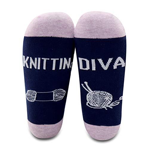 MBMSO 2 Pairs Knitting Lovers Socks Knitting Diva Knitting Gifts for Knitters Crocheters Crochet Lovers Gifts (Knitting Diva)