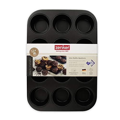Zenker 12er-Muffinform Ø 7 cm BLACK METALLIC, Muffinbackform aus Stahlblech, Backblech mit Antihaftbeschichtung (Farbe: Schwarz Metallic), Menge: 1 Stück