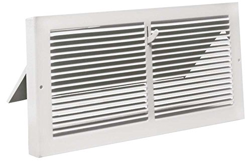 White Baseboard Register with 7/8' Turn Back (10' x 6' Duct Opening/ ~11.375' x 7.25' Overall)