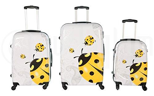 Trolley valigia set valigie rigide set bagagli in policarbonato abs super leggeri 4 ruote piroettanti trolley piccolo adatta per cabina con compagnie lowcost art coccinella / unico