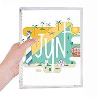 6月の月の光の季節のイラスト 硬質プラスチックルーズリーフノートノート