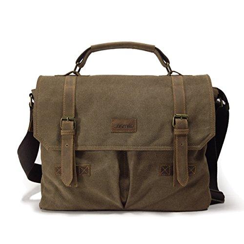 LOSMLIE Large Messenger Bag, 15.6'' Laptop Bag,Canvas Shoulder Bag Travel Briefcase Crossbody Satchel School Bag.(BORWN)