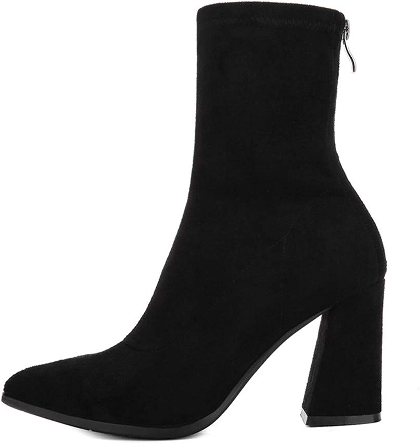 Women's High Heel and Ankle Boots Martin Boots Thick with Pointed Scrubs Suede European and American Women's Boots Back Zipper