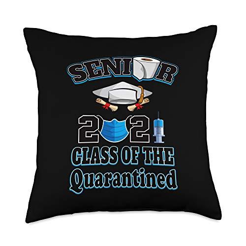 Seniors Class Of 2021 Graduation Lockdown Tee Class Of The Quarantined Seniors 2021 Graduation Him Her Throw Pillow, 18x18, Multicolor