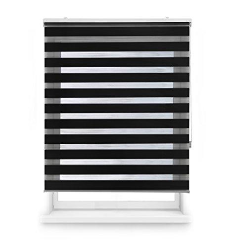 Blindecor LIRA - Estor enrollable de doble capa Noche y Día, Negro, 140 x 180 cm, ancho x largo