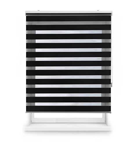 Blindecor Lira Estor Enrollable de Doble Capa, Noche y Día, Poliéster, Negro, 120 x 250 cm (ancho x largo)