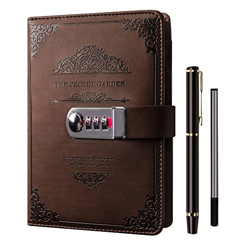 Diario notebook con password Lock - XIYUNTE vintage pelle fine computer personali organizzatori con lucchetto a combinazione,portapenne,regalo metallo penna, 100 gsm,120 * 180 cm,200PAGE,120 * 185cm