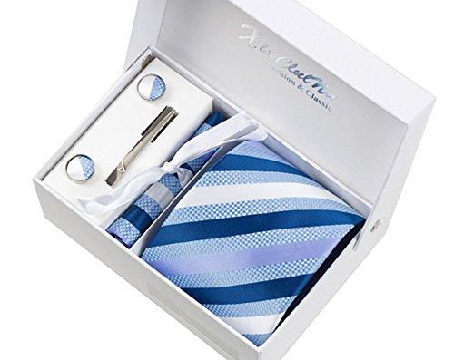 S.R HOME bandes de dégradé bleu Ensemble Cravate étanche d'homme, Mouchoir, épingle et boutons de manchette coffret cadeau